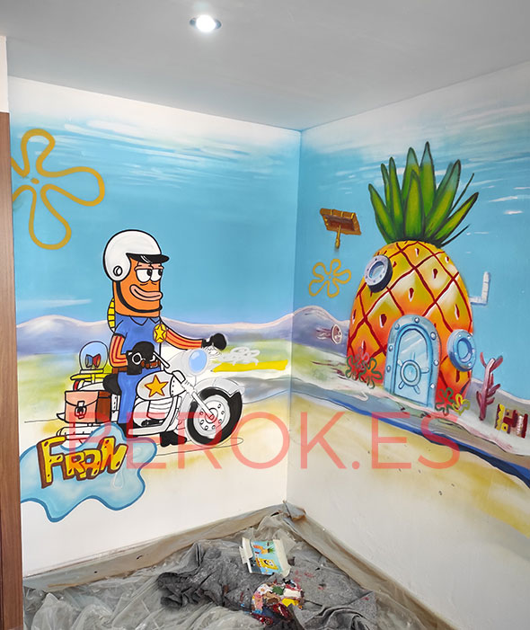 Graffiti policia Bob Esponja