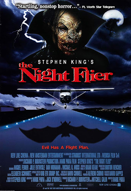 Movie poster for the 1997 New Line Cinema Stephen King adaptation The Night Flier, starring Miguel Ferrer, Julie Entwisle, Dan Monahan, and Michael H. Moss