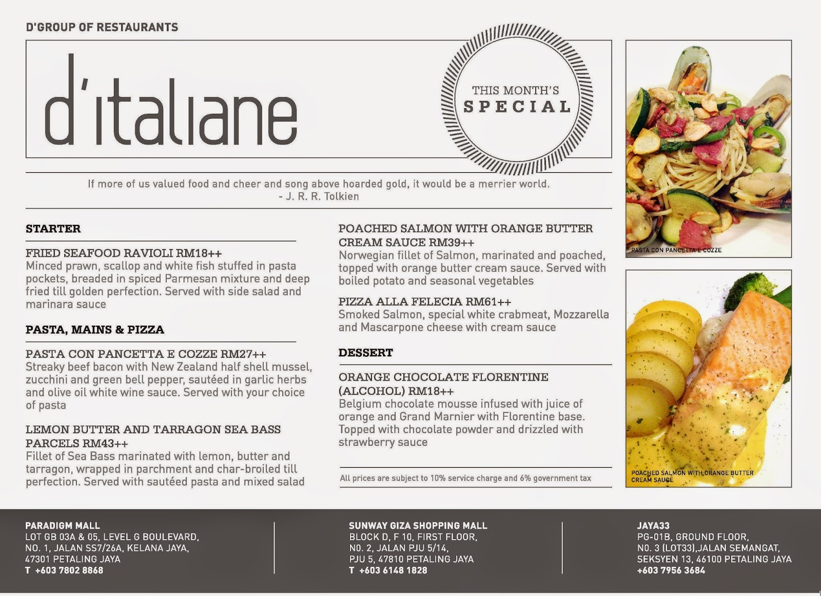 D Italiane Kitchen Paradigm Menu