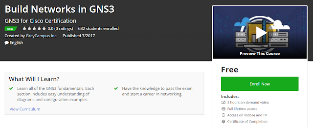 Udemy Free Course] Build Networks in #GNS3 ~ Free Udemy Courses