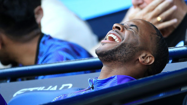 Manchester City 8-0 Watford Raheem Sterling may have been a substitute but he had plenty to smile about as he watched his team-mates win in style
