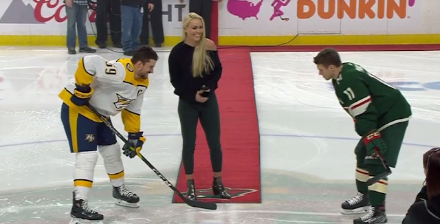 Lindsay Vonn drops ceremonial first puck at Minnesota Wild game