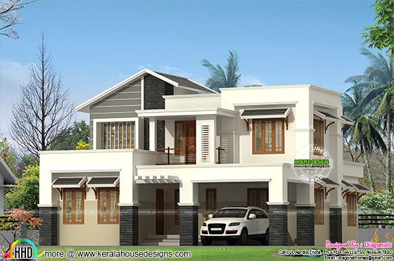 Modern Slanting Roof Mix Home Architecture Kerala Home
