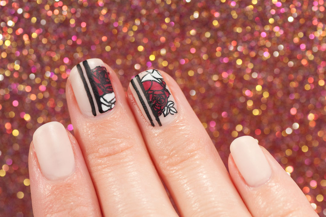 Negative Space Rose Floral Nail Art stamping with MoYou Flower power 19