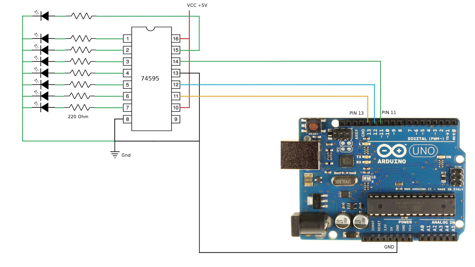 What is the Code for Arduino shiftOut() function ? « Funny