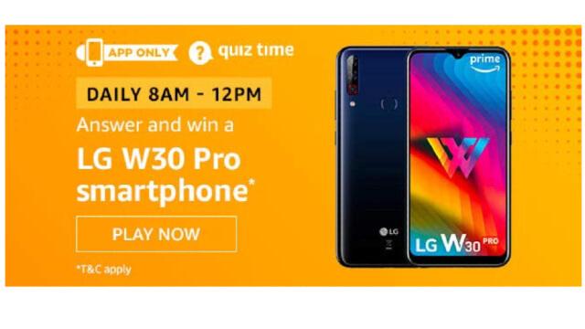 Amazon Quiz Answers Today 15 January win - LG W30 Pro smartphone
