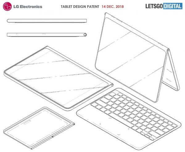 شركة LG تسجل براءة اختراع لجهاز لوحي جديد مع غطاء ولوحة مفاتيح لاسلكية
