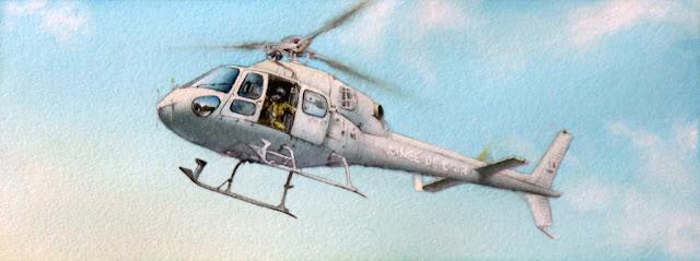 Aquarelle, Hélicoptères, AS-555, Fennec, EH 05/067 Alpilles
