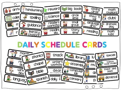 Mrs p 39 s kindergarten daily schedule cards for Kindergarten timetable template