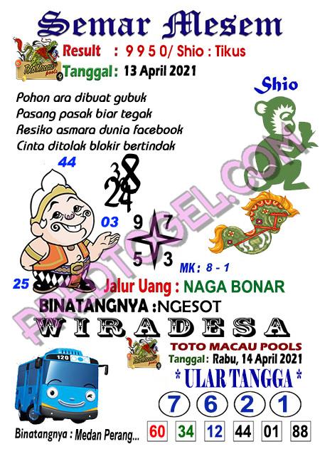 Syair Semar Mesem Toto Macau Rabu 14 April 2021