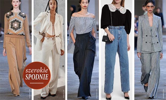 modne szerokie spodnie wiosna lato 2021