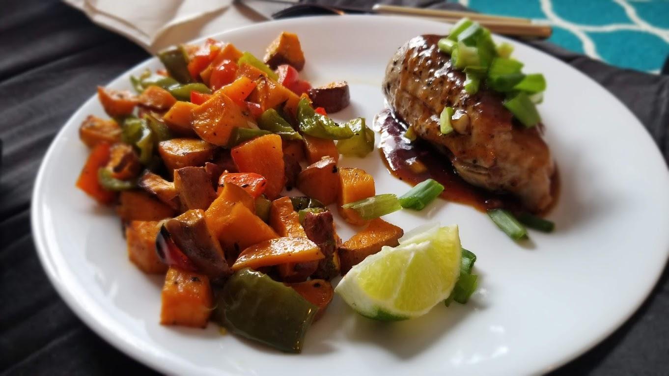 Bulgogi Lime Pork Tenderloin with Sweet Potato/Bell Pepper Jumble, from HelloFresh