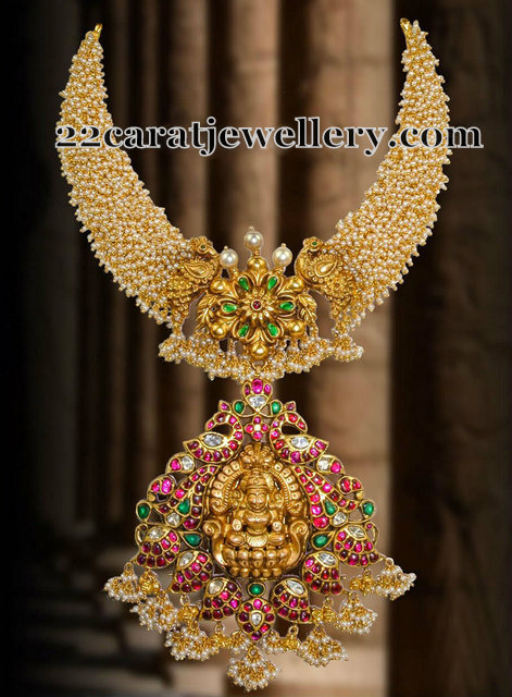 Basara Pearls Haram Lakshmi Locket Jewellery Designs