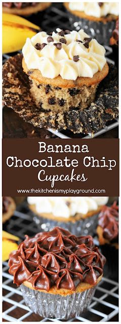 Banana Chocolate Chip Cupcakes Pin Image