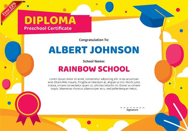 Diploma o certificado de kindegarten en vector
