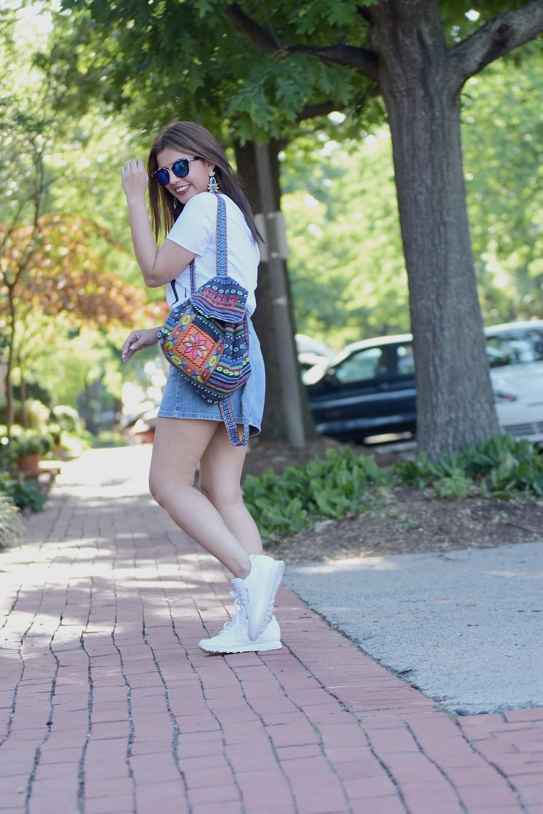 Off Shoulder T-shirt & Denim Skirt  by Mari Estilo. Wearing: Tshirt: LightInTheBox Skirt: GAP Shoes: Reebok Classic