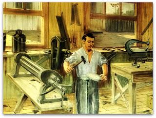 Pintura de ferreiro trabalhando, vista no acervo do Museu Municipal de Caxias do Sul.