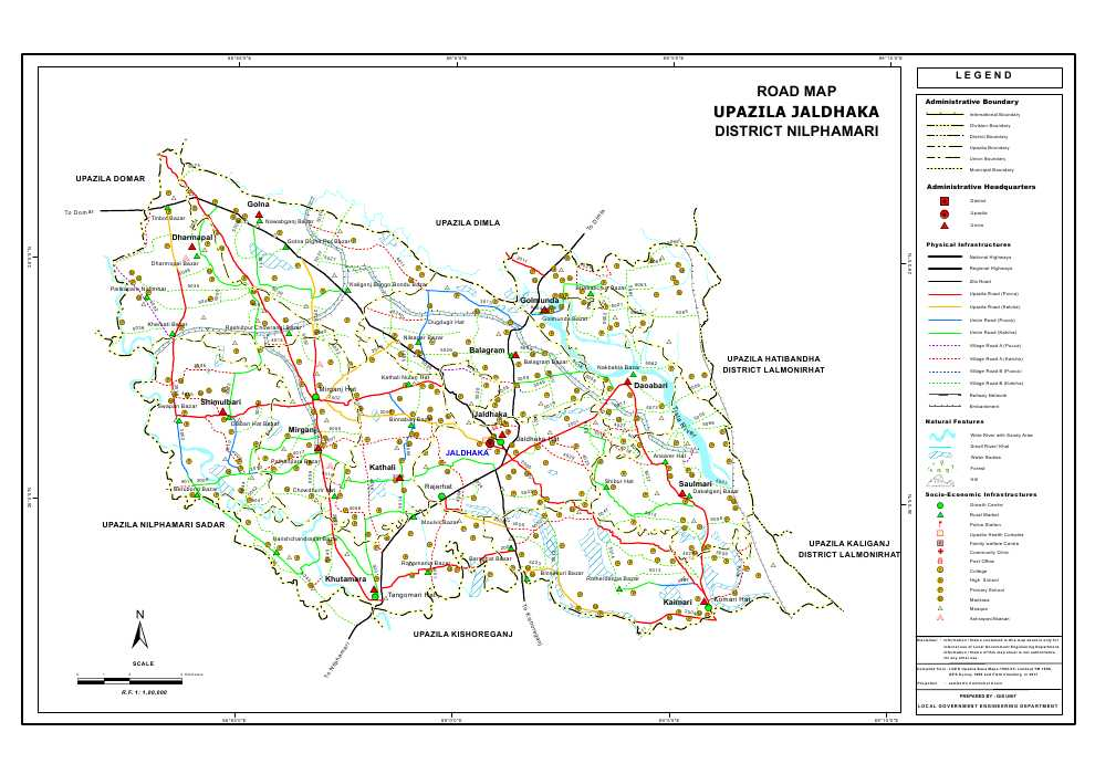 Jaldhaka Upazila Road Map Nilphamari District Bangladesh