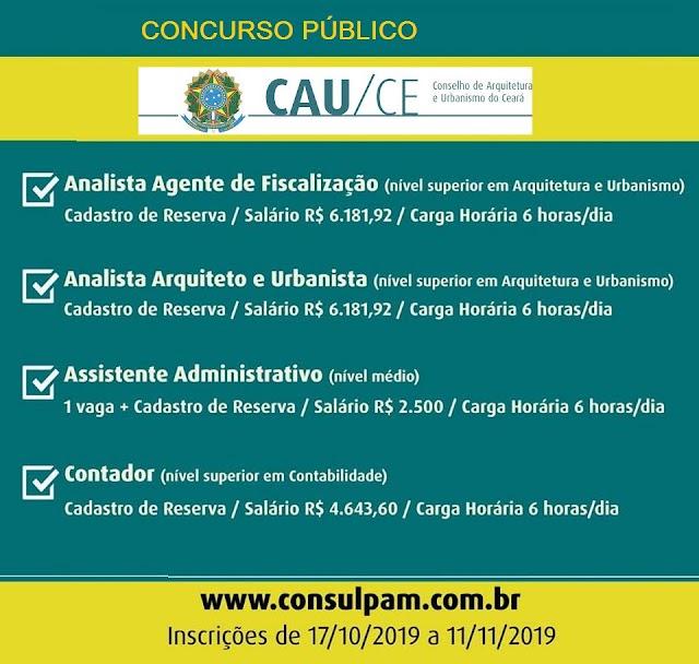 CAU Ceará lança edital de concurso para nível médio e superior! Até R$ 6.181,92!