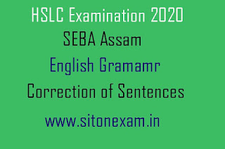 SEBA Class 10 English Grammar Correction of Sentences From Question Bank 2020