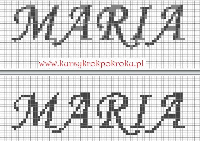 Projektowanie szydełkowego filetu - generator alfabetu, monogramów, imion i inicjałów KROK PO KROKU