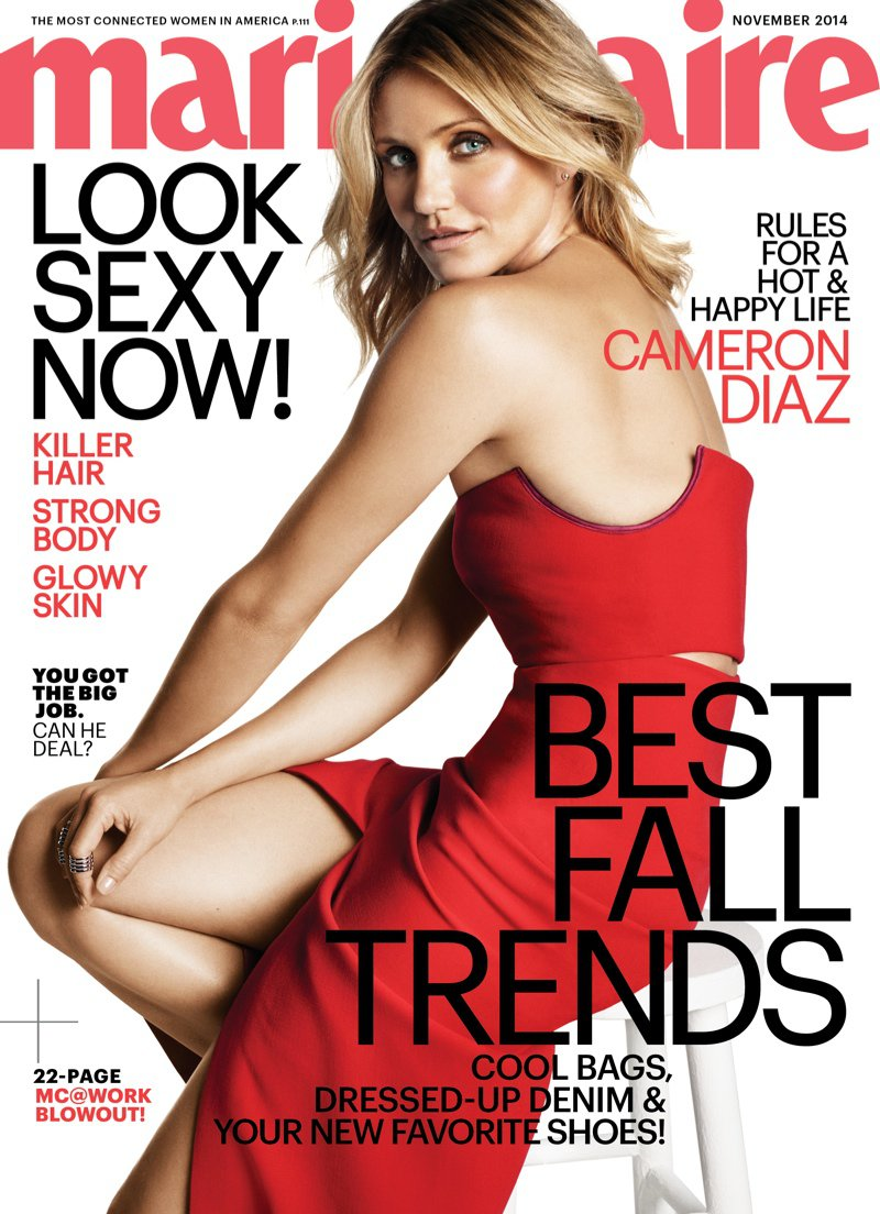 Cameron Diaz is red hot for the Marie Claire US November 2014 cover
