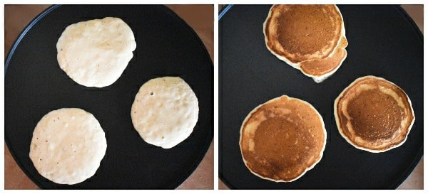 Making banana pancakes - step 4 - pancakes cooking on a hot griddle or pan
