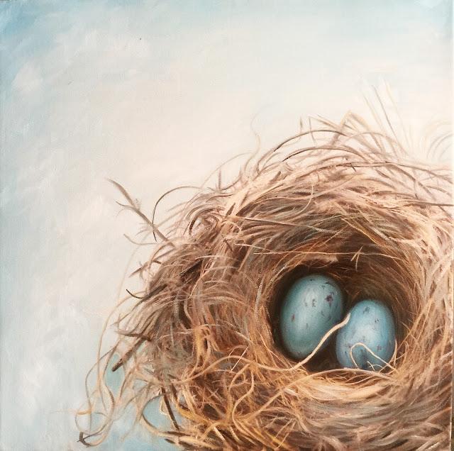 tranh sơn dầu tổ chim
