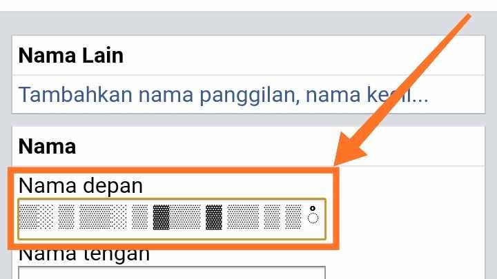 Cara membuat Nama Facebook 1 huruf