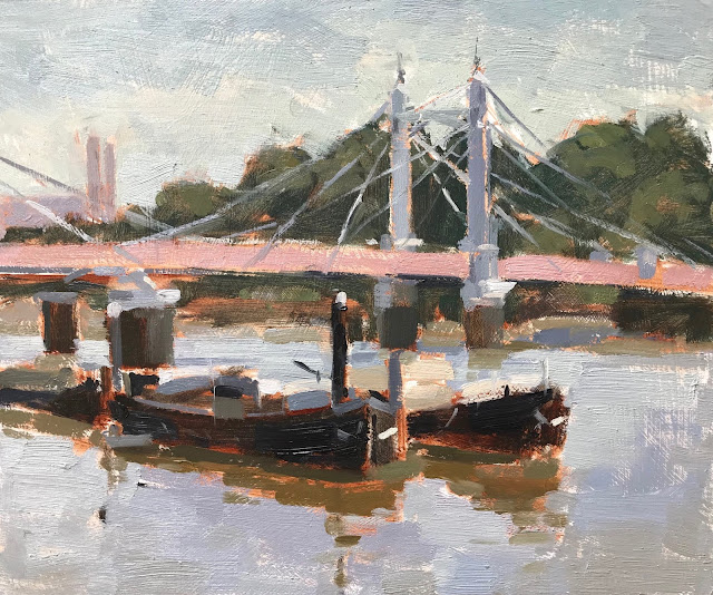 #340 'Boats by Albert Bridge' 10×12″