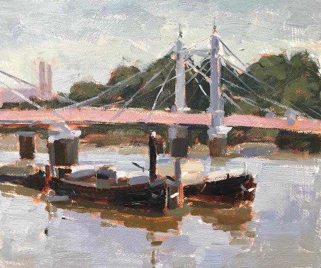 #340 'Boats by Albert Bridge' 10×12″