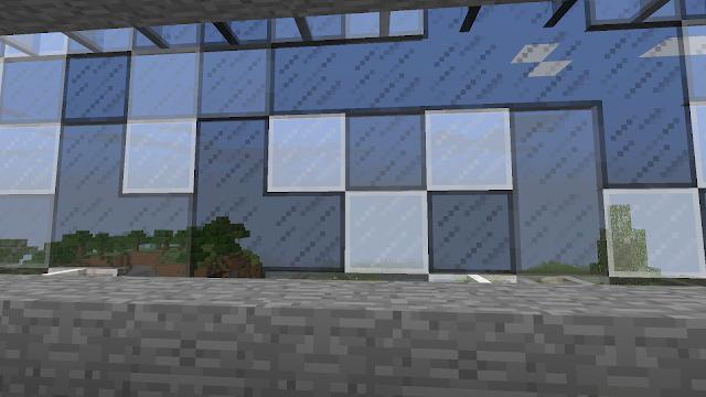 In Minecraft: parkeergarage, kunstig raamwerk langs de rand
