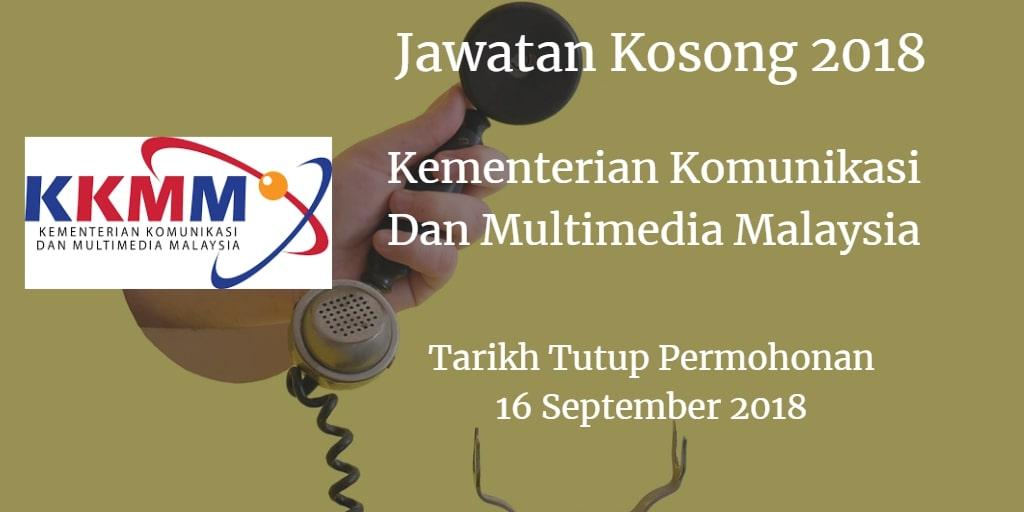 Jawatan Kosong Kementerian Komunikasi Dan Multimedia Malaysia 16 September 2018
