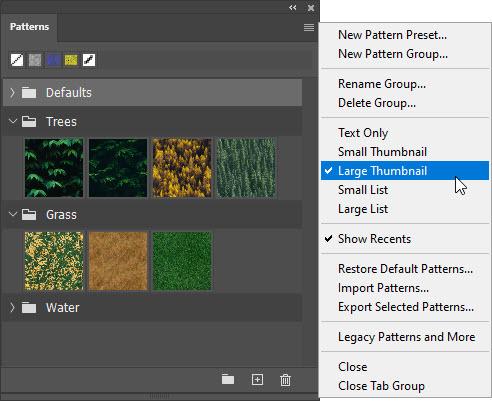 displaying options from preset panel menu