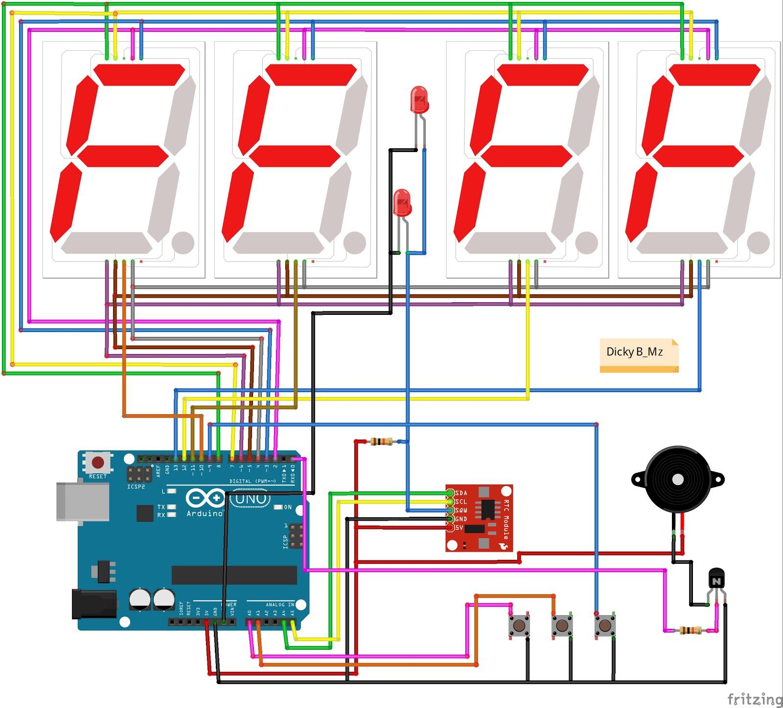Jam Digital Alarm Arduino Display Seven Segment 4 Digits