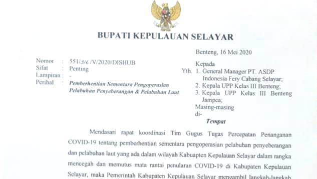 Putus Penyebaran COVID-19 Ke Selayar, Pemerintah Hentikan Sementara Ops. Pelabuhan Laut Dan Penyeberangan