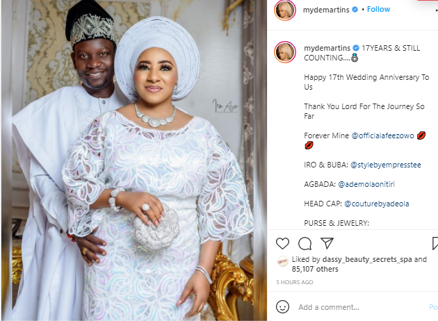 Happy 17th wedding anniversary to us- Actress Mide Martins celebrates her 17th wedding anniversary with her Husband