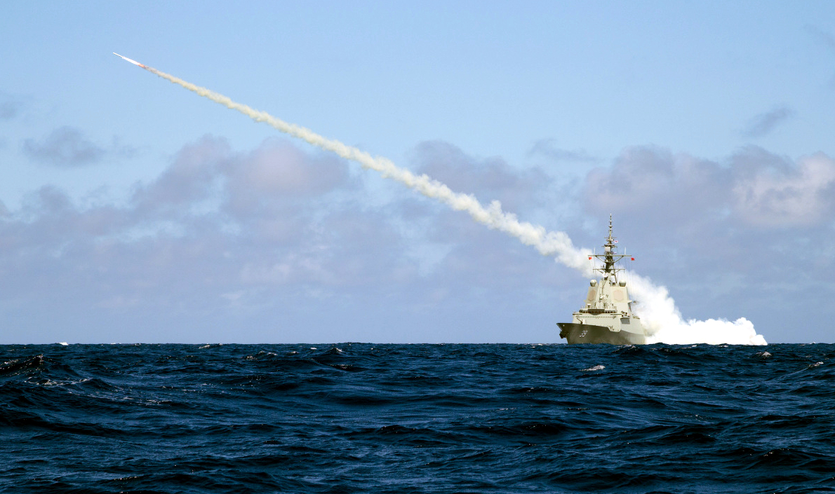 Destroyer HMAS Hobart of Royal Australian Navy Fires a Harpoon Blast