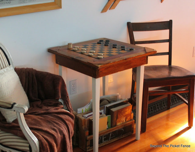 antique table. checkers table, side table, game table, http://bec4-beyondthepicketfence.blogspot.com/2016/02/checkers-table.html