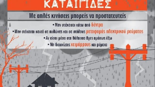 Προειδοποίηση της Πολ. Προστασίας για επικίνδυνα καιρικά φαινόμενα την Δευτέρα στην Πελοπόννησο