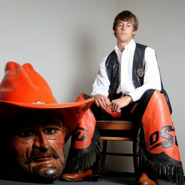 Derick Dillard as Pistol Pete, the OSU mascot