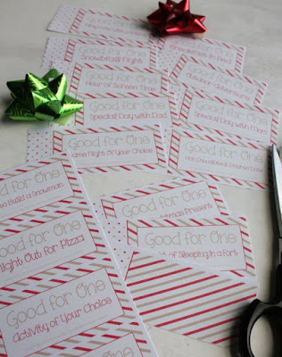 pages of Christmas coupon book for kids partial cut into individual coupons