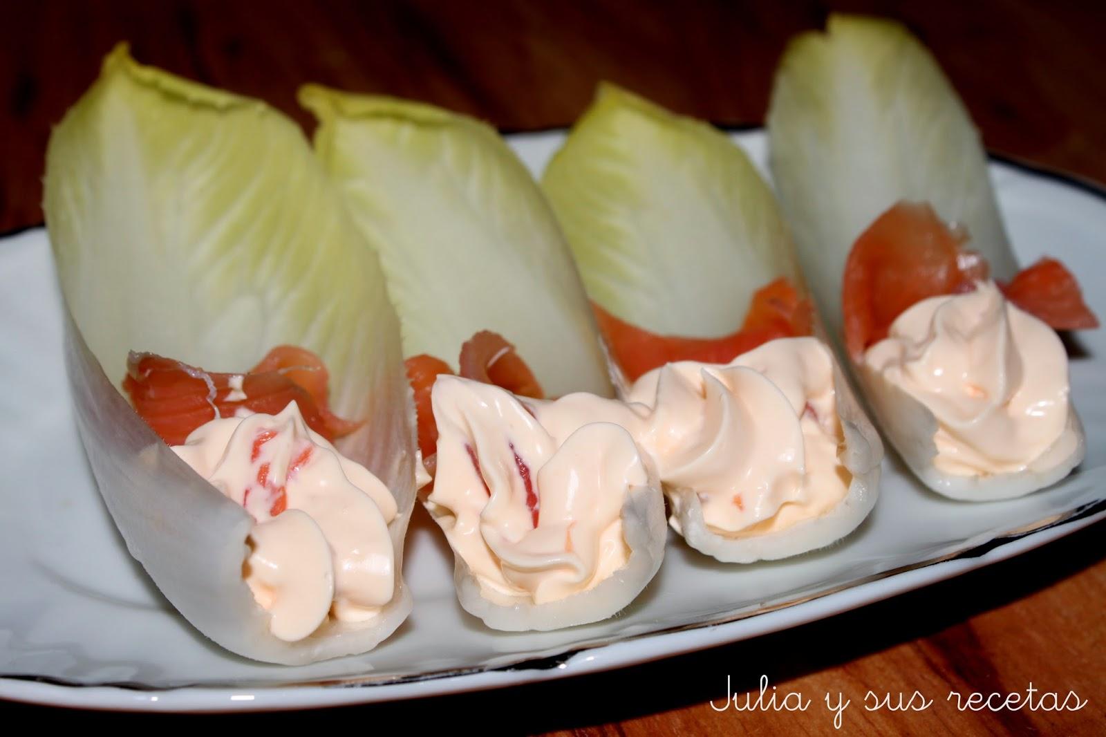 Endivias con crema de salmón. Julia y sus recetas