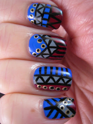 Tribal-nail-art-blue-grey-red-gold-manicure