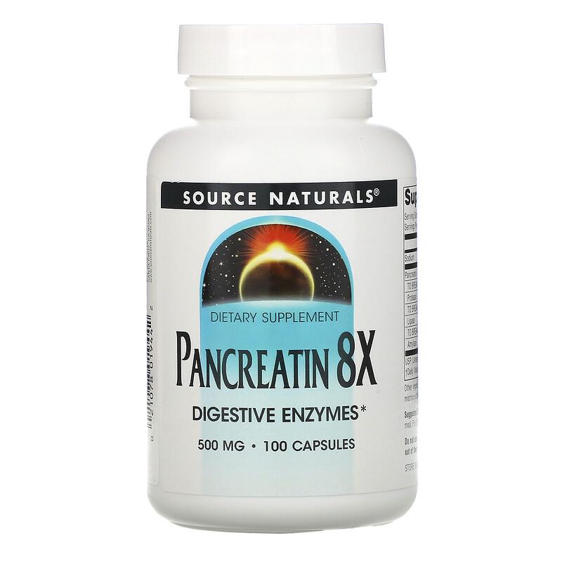 Source Naturals, Панкреатин 8Х, 500 мг, 100 капсул