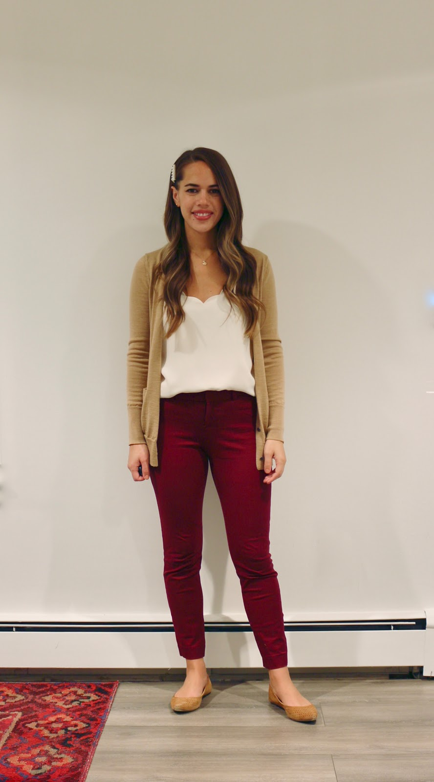 Jules in Flats - Scalloped Cami + Burgundy Ankle Pants (Business Casual Workwear on a Budget)