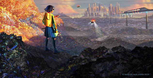 Futuristic sci-fi illustration by Kathryn Ault Noble: a girl stands on a pile of glittery garbage in a landfill. Foreground is dark, middle ground is  brightly it in orange. Girl wears futuristic bright clothes and dark glasses. In the distance is a maglev train heading into a futuristic city scape with a flying vehicle in the distance. Overall colors are oranges and purples and black.