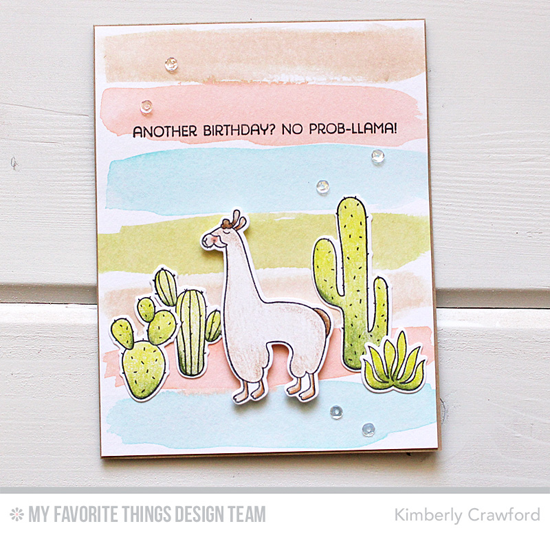 Handmade card from Kimberly Crawford featuring Laina Lamb Design Llama Love stamp set and Die-namics #mftstamps