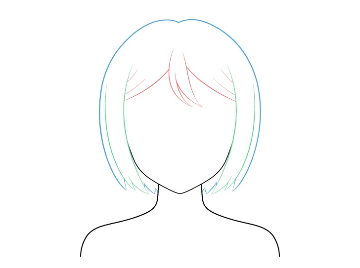 Menggambar Rambut Anime Combed rapi
