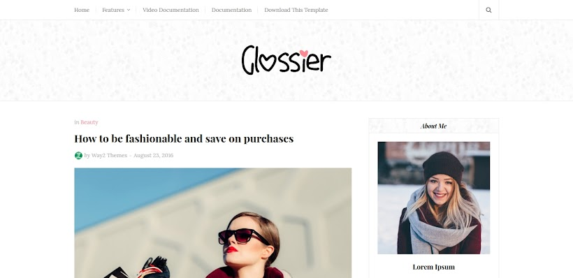 Glossier Free Blogger Template
